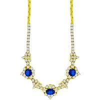 4.09ct Sapphire 4.40ct Diamond Gold Necklace