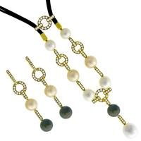 4.30ct Diamond Pearl Gold Earrings And Necklace Set