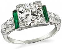 Art Deco 1.76ct Diamond Emerald Engagement Ring