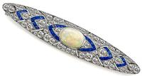 Art Deco Opal 4.00ct Diamond 1.00ct Sapphire Pin