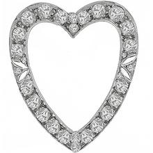 Art Deco 2.50ct Old Mine Cut Diamond 14k White Gold Open Heart Pin/ Pendant