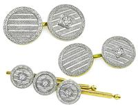 Estate 0.50ct Diamond Gold Cufflinks and Buttons Tuxedo Set