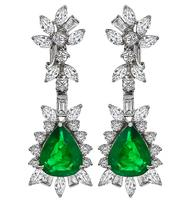 Estate 7.00ct Emerald 4.00ct Diamond Drop Earrings