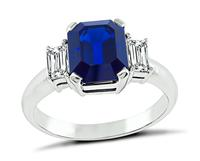 Estate 3.14ct Sapphire 0.51ct Diamond Engagement Ring