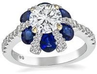 Estate 0.89ct Diamond 1.56ct Sapphire Engagement Ring