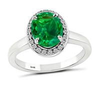 Estate 0.93ct Emerald Diamond Engagement Ring