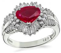 Estate 0.98ct Burmese Ruby 0.71ct Diamond Ring