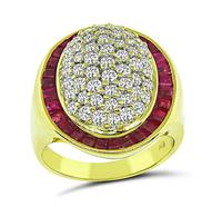 Estate 1.00ct Diamond 1.84ct Ruby Gold Ring