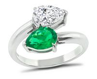 Estate 1.00ct Diamond 0.63ct Colombian Emerald Ring