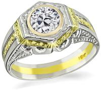 Estate 1.00ct Diamond Two Tone Ring
