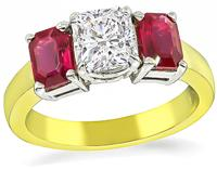 Estate GIA Certified 1.01ct Diamond 1.00ct Ruby Engagement Ring