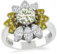 Estate 1.02ct Fancy Light Yellow Center Diamond Engagement  Ring