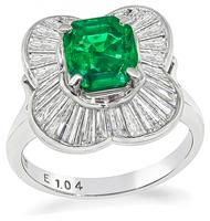 Estate 1.04ct Colombian Emerald 1.25ct Diamond Cocktail Ring