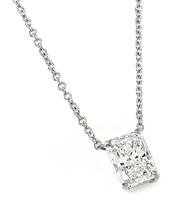 Estate 1.04ct Laser Drilled Diamond Solitaire Pendant Necklace