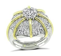 1.04ct Center Diamond 2.00ct Side Diamond Cocktail Ring