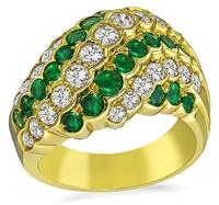 Estate 1.03ct Diamond 1.04ct Colombian Emerald Gold Ring