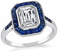 Art Deco Style 1.05ct Diamond Sapphire Engagement Ring