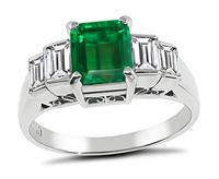 1.12ct Colombian Emerald 0.83ct Diamond Engagement Ring