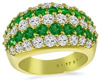 Estate 1.72ct Diamond 1.14ct Emerald Gold Ring