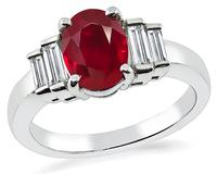 Estate AIGS Certified 1.14ct Burmese Ruby Diamond Engagement Ring