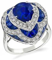 Estate 2.93ct Sapphire 0.80ct Diamond Cocktail Ring