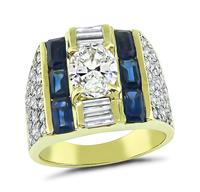 Estate 1.23ct Center Diamond 1.50ct Side Diamond Sapphire Gold Ring