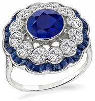 Estate 1.25ct Sapphire 0.90ct Diamond Ring