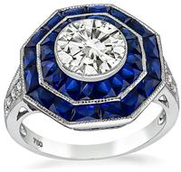 Estate 1.35ct Diamond 1.20ct Sapphire Engagement Ring