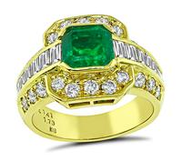 Estate 1.41ct Colombian Emerald 1.73ct Diamond Ring