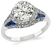 Art Deco Style 1.50ct Diamond Sapphire Engagement Ring