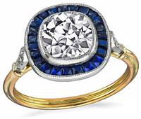 Estate 1.55ct Diamond Sapphire Engagement Ring