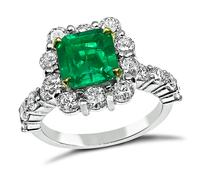 Estate 1.66ct Colombian Emerald 1.40ct Diamond Engagement Ring