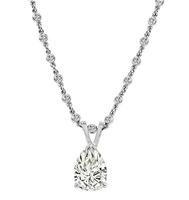 Estate 1.81ct Pear Shape Diamond 1.60ct Diamond Pendant Necklace