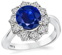 Estate 1.84ct Sapphire 0.66ct Diamond Engagement Ring