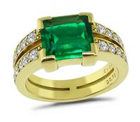 1.92ct Colombian Emerald 0.69ct Diamond Gold Ring