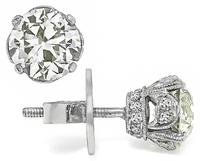 Estate 1.94ct Diamond Stud Earrings
