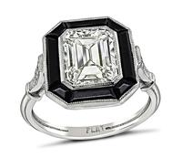 Estate GIA Certified 1.97ct Diamond Onyx Engagement Ring