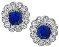 Estate 2.00ct Sapphire 0.90ct Diamond Earrings