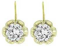 Estate 2.10ct Diamond Gold Earrings