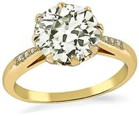 Estate 2.14ct Diamond Gold Engagement Ring