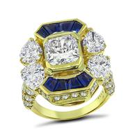 Estate 2.23ct Center Diamond 3.80ct Side Diamond Sapphire Gold Ring