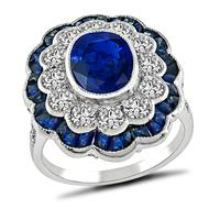 Estate 2.30ct Ceylon Sapphire 1.13ct Diamond Ring