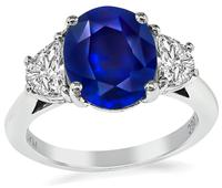 Estate 2.62ct Natural Sapphire 0.80ct Diamond Engagement Ring