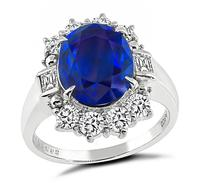 Estate 3.04ct Sapphire 0.72ct Diamond Engagement Ring