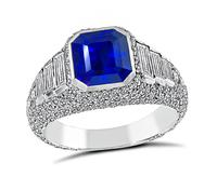 Estate 3.05ct Ceylon Sapphire 1.20ct Diamond Engagement Ring