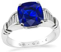 Estate 3.05ct Ceylon Sapphire 0.25ct Diamond Engagement Ring