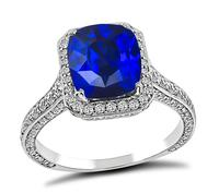 Estate 3.11ct Ceylon Sapphire 0.75ct Diamond Engagement Ring
