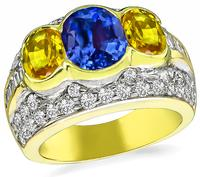 Estate 3.18ct Corn Flower Blue Sapphire 2.01ct Yellow Sapphire Diamond Ring