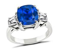 3.21ct Corn Flower Blue Sapphire Diamond Engagement Ring