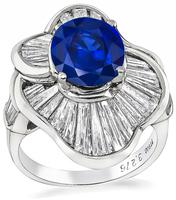 Estate 3.27ct Sapphire 3.05ct Diamond Ring